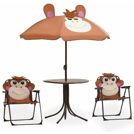 3 Piece Kids\' Garden Bistro Set with Parasol Brown