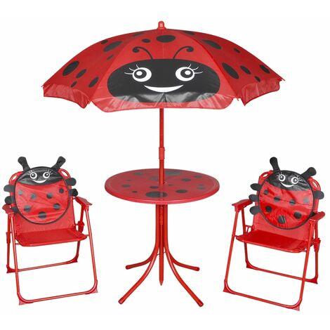 3 Piece Kids' Garden Bistro Set with Parasol Red