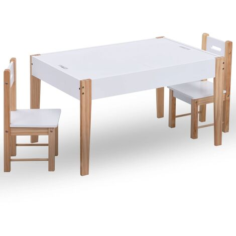 3 Piece Kids Storage Chalkboard Table Chair Set Black and White