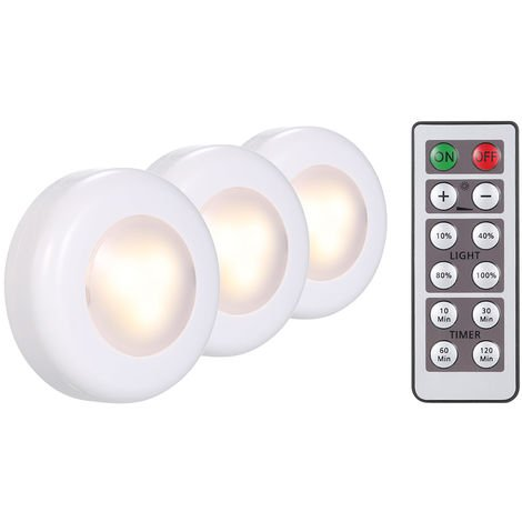 3-Piece LED round cabinet light with remote control, dimmable timing