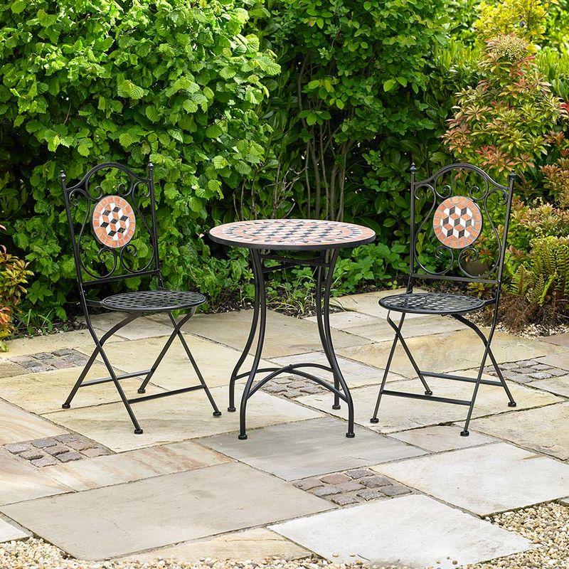 Bistro Patio Furniture.3 Piece Mosaic Bistro Patio Garden Furniture Set