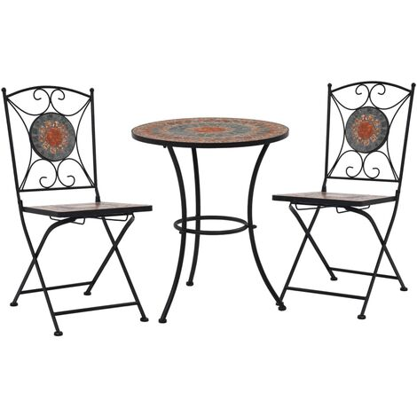 3 Piece Mosaic Bistro Set Ceramic Tile Orange/Grey