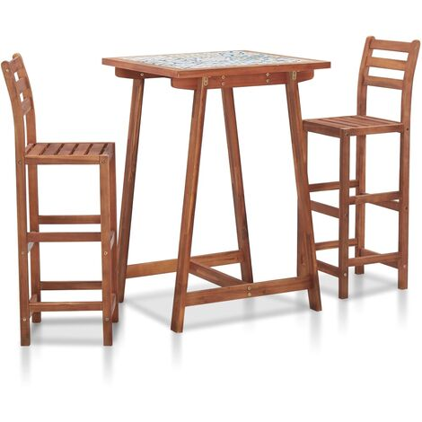 3 Piece Outdoor Bar Set Mosaic Tile Top and Solid Acacia Wood