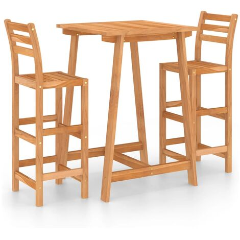 """main image of """"3 Piece Outdoor Bar Set Solid Acacia Wood20278-Serial number"""""""