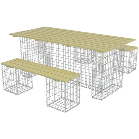 3 Piece Outdoor Dining Set with Steel Gabion Pinewood