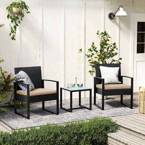 3-Piece Patio Set Outdoor Patio Furniture Sets, PE Rattan, Outdoor Seating for Bistro Front Porch Balcony, Easy to Assemble, 2 Chairs and 1 Table,Black GGF010B02 - Black