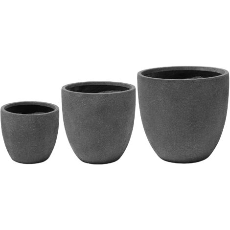 3-Piece Plant Pot Set Dark Grey KANNIA