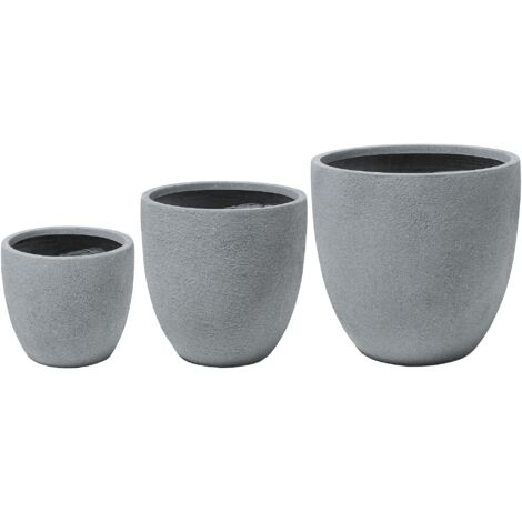 3-Piece Plant Pot Set Grey KANNIA