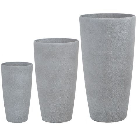 3 Piece Plant Pot Set Stone Grey ABDERA