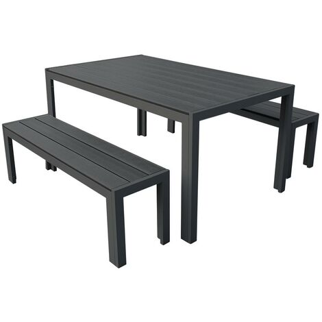 3 Piece Polywood Outdoor Dining Table Bench Set Durable Aluminium Frame in Graphite