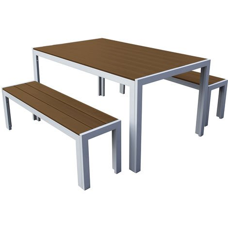 3 Piece Polywood Outdoor Dining Table Bench Set Durable Aluminium Frame in Natural
