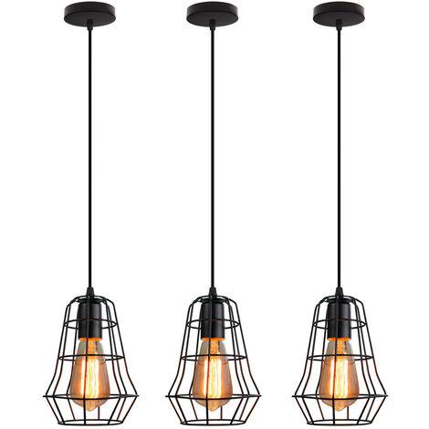 3 piece Retro Cage Pendant Light Black Industrial Creative Ceiling Lamp E27 Socket Vintage Hanging Light for Bedroom Cafe Adjustable Cable