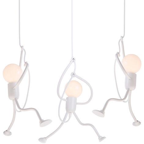 3 piece Retro Hanging Light Iron Ceiling Lamp Creative Modern Cartoon Design Pendant light for Kids Bedroom Bedside White