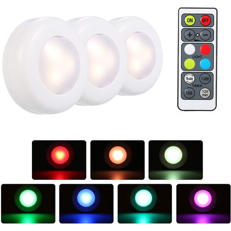 3-Piece RGB LED Round Cabinet Light with Remote Control Battery Powered