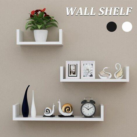 3 Piece Set Black / White, 1.8cm Thick Wood Wall Shelf, Wall Organizer (Black)
