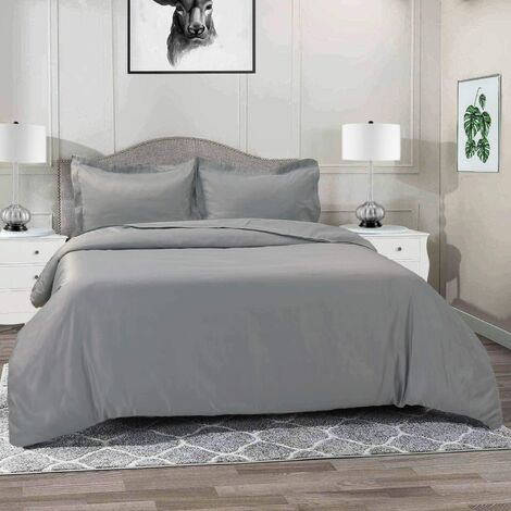 3-piece set of 120gsm microfiber duvet set, super soft double-brushed microfiber bedding, durable and breathable duvet cover with zipper closure and corner tie (full, gray)