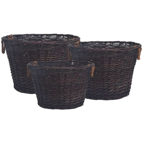 3 Piece Stackable Firewood Basket Set Dark Brown Willow