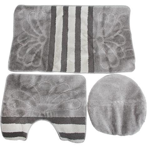 3 Piece Stripe & Flower Pattern Design Bath, Pedestal And Toilet Seat Cover Bathroom Mat Set (60cm x 100cm) (Silver)