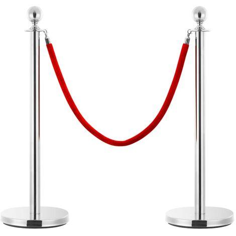 3 Piece VIP Queue Barrier Set Stainless Steel Silver