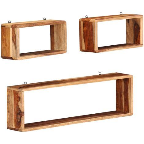 3 Piece Wall Cube Shelf Set Soild Sheesham Wood