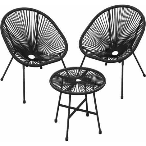 """main image of """"3-PieceGardenPatioFurniture Set,Outdoor Seating Acapulco Chair, Glass Top Table and 2 Chairs, Indoor and Outdoor Conversation Set,Black GGF013B01 - Black"""""""
