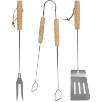 3 Pieces 52cm BBQ Cutlery Set Stainless Steel