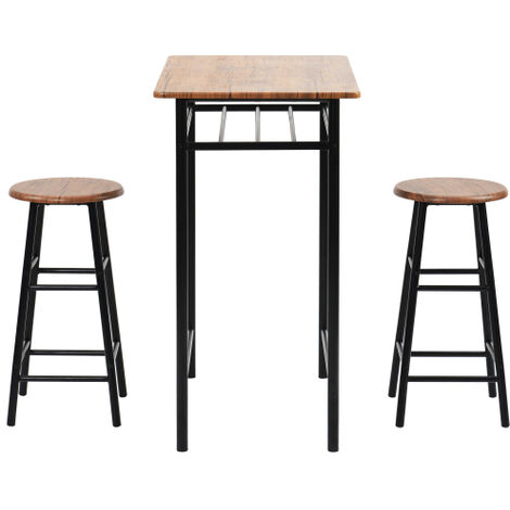 3 Pieces Bar Table Set, Modern Pub Table and Chairs Dining Set, Kitchen Counter Height Dining Table Set with 2 Bar Stools, Built in Storage Layer, Easy Assemble, Brown