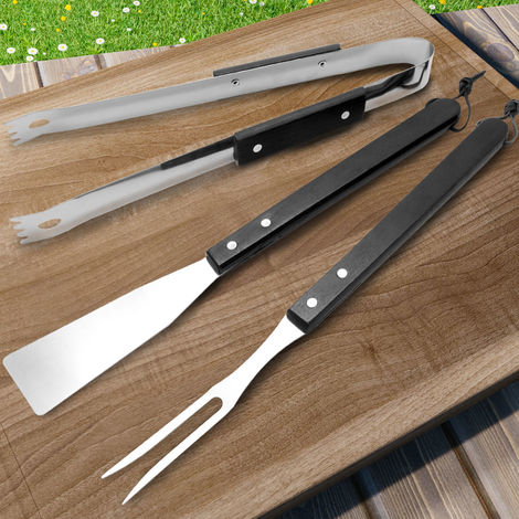 3 Pieces BBQ Cutlery Set made of Stainless Steel with Black Wooden Handles