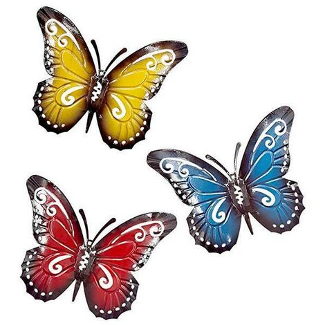3 pieces butterfly metal a group of cute colored insects, to hang the wall art garden lawn decor interior outdoor wall sculptures 3 colors