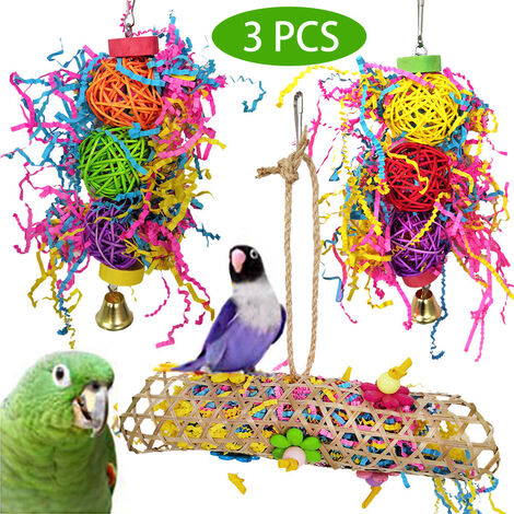 """main image of """"3 pieces chew toys for small parrot bird cage"""""""