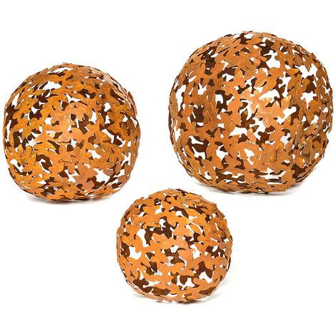 3 pièces de métal rouille boules de décoration jardin boules de patine rouille décoration de jardin