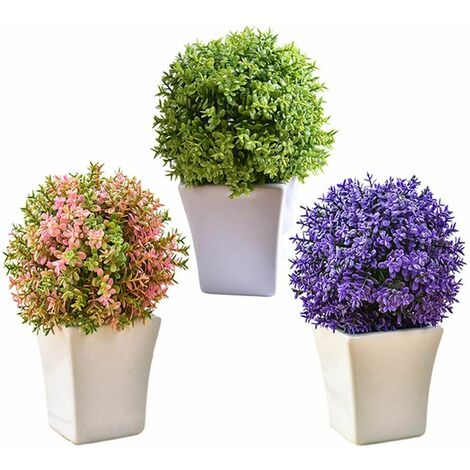 3 Pieces De Petites Fleur Artificielle Avec Blanc Pot