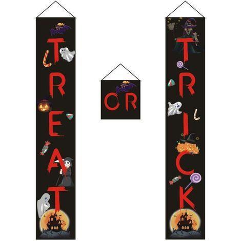 3 Pieces Door Decorations Trick Or Treat Door Curtain Banner for Halloween Party Halloween Front Door-Red