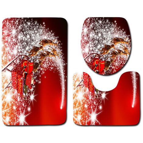 3 pièces / ensemble antidérapant salle de bain siège de toilette couverture piédestal tapis tapis de bain coussin tapis sd226 traîneau étoilé rouge Seulement Mat C