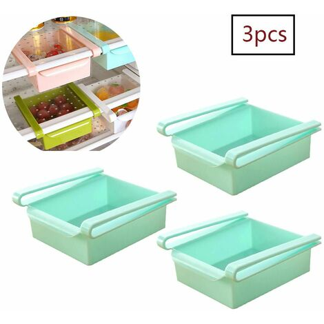 "main image of ""3 Pieces Fridge Drawer Freezer Crisper Shelf Vegetable Storage Blue"""