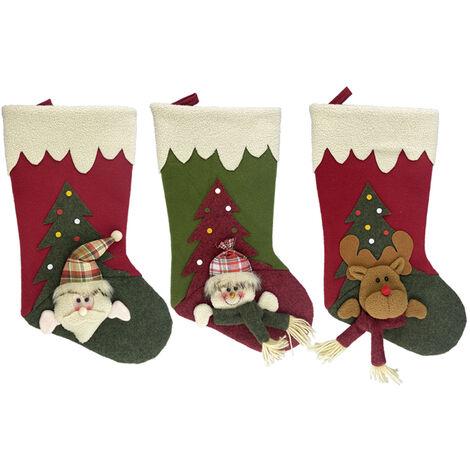 3 Pieces Grand Bas De Noel 18 Pouces Classique De Noel Bas 3D Pere Noel Bonhomme De Neige Renne Decorations