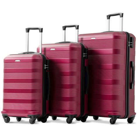 3 Pieces Luggage Set ABS Hard Shell Lightweight Spinner 4 Wheels Suitcase Luggage (Wine Red)