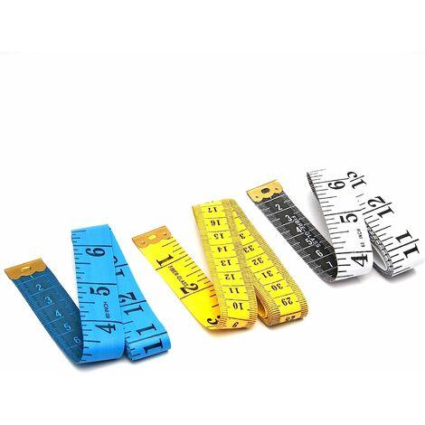 """main image of """"3 pièces ruban à mesurer souple coloré de 60 pouces / 1,5 mètre, ruban à coudre pour les tailleurs et les concepteurs (jaune + blanc + bleu)"""""""