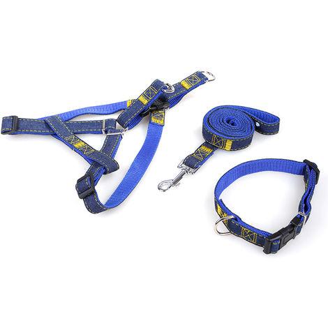 3 piezas, correa para collar de perro mascota, arnes ajustable cuerda de traccion de 1,2m