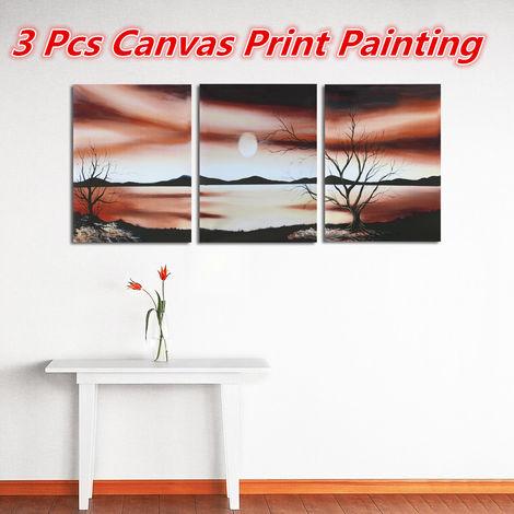 3 piezas desierto estepa árbol puesta de sol pintura sin marco sala dormitorio pintura pared pintura artesanal pintura LAVENTE