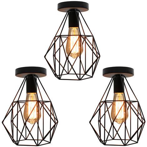 3 piezas Lámpara Colgante de Hierro Industrial de Lámpara de Techo de Jaula de Diamantes Lámpara de Araña Retro para Cafe Bar Office Dormitorio E27 Negro