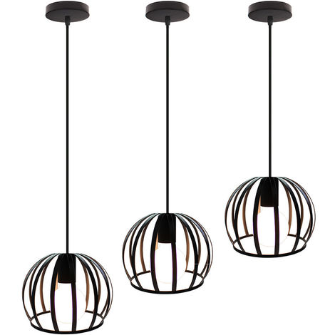 3 piezas Lámpara Colgante Industrial Redonda Vintage Cable Lámpara de Techo Ajustable Luz Colgante de Hierro de Metal para Cocina Pasillo de la Casa Interior Negro