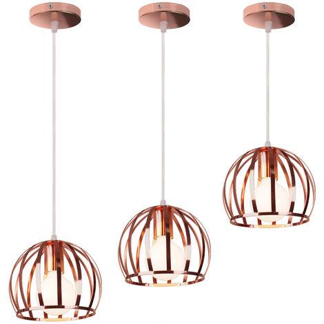 3 piezas Lámpara Colgante Industrial Redonda Vintage Cable Lámpara de Techo Ajustable Luz Colgante de Hierro de Metal para Cocina Pasillo de la Casa Interior Oro Rosa
