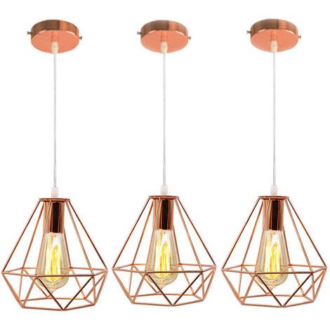 3 piezas Lámpara de Araña Industrial Vintage Lámpara Colgante de Diamante Retro Luz de Techo de Jaula de Metal para Sala de Estar Comedor Bar Hotel Restaurante Oro Rosa