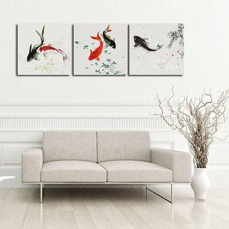 3 piezas mesa pintura al óleo carpa sin Cardre lienzo arte pared decoración LAVENTE