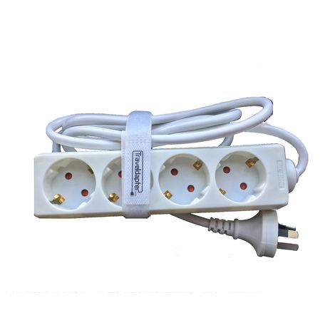 3 Pin Earthed & Moulded AUSTRALIAN Type I Plug, 4 Earthed Euro Schuko Sockets, 1.5m Flex CE certified