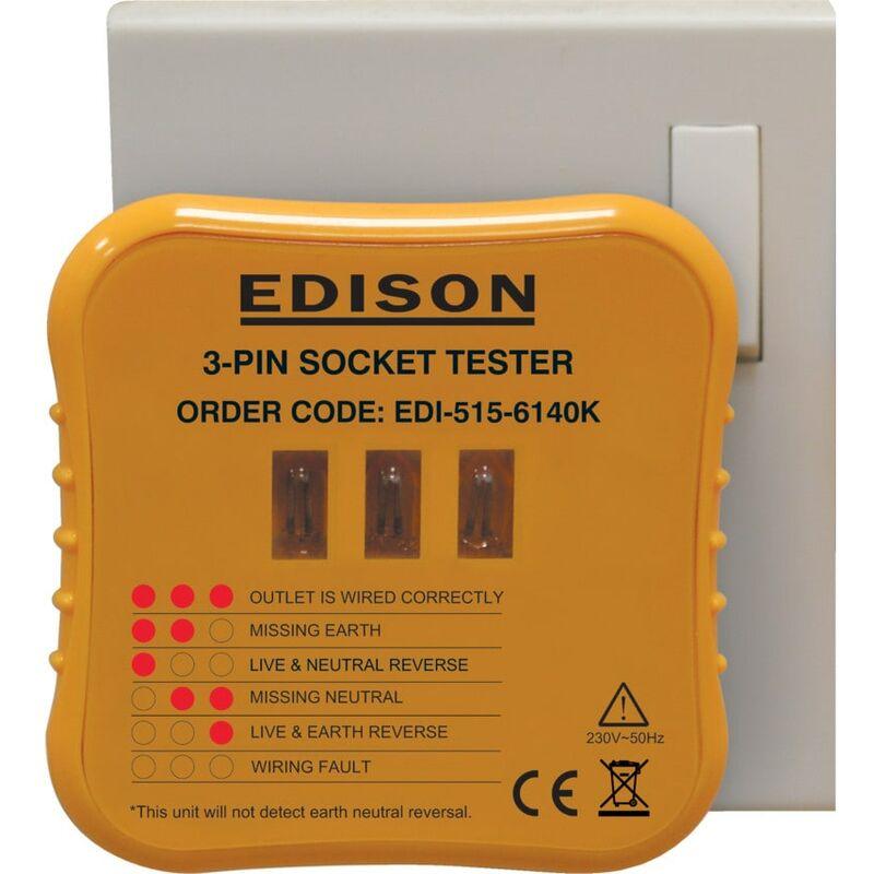 Image of 3-Pin Socket Tester for 2 30V AC Circuits - Edison