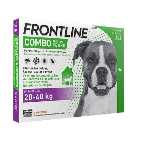 3 Pipetas FRONTLINE COMBO para Perros Grandes (20-40 kg) Anti Pulgas y Garrapatas Fipronil 2,68 ml