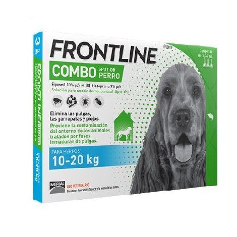 3 Pipetas FRONTLINE COMBO para Perros Medianos (10-20 kg) Anti Pulgas y Garrapatas Fipronil 1,34 ml