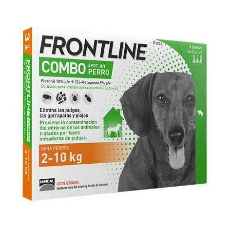 3 Pipetas FRONTLINE COMBO para Perros Pequeños (2-10 kg) Anti Pulgas y Garrapatas Fipronil 0,67 ml